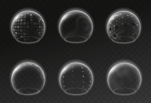 Bubble shields. Futuristic transparent sphere template, safety energy barrier force field mockup, realistic antiviral defense collection, protection environment 3d vector isolated set