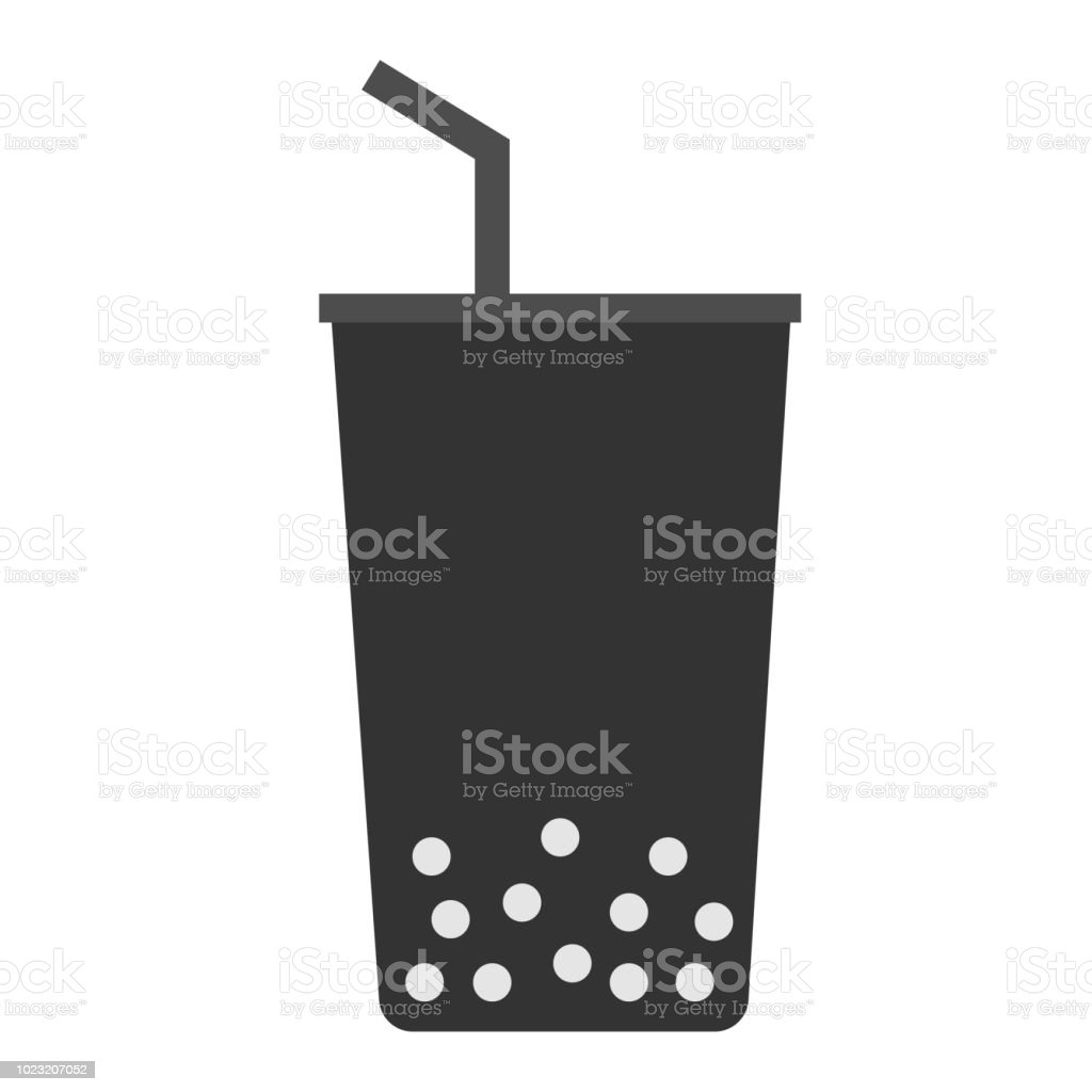 bubble sign. pearl milk tea on white background. boba icon for your web site design, logo, app, UI. flat style. vector art illustration