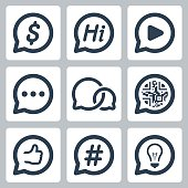 Bubble speeches concepts vector icon set