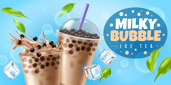 Bubble tea. Asian milk boba tea drink with tapioca pearls, plastic cup with cool beverage bubbles splash and closed glass sweet liquid dessert with balls, realistic vector horizontal flyer