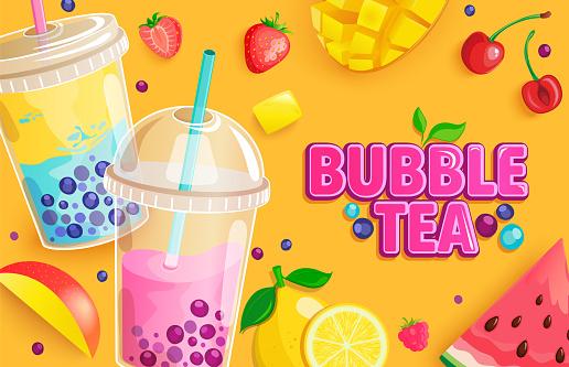 Bubble tea banner. Milkshake smoothie with fruits.