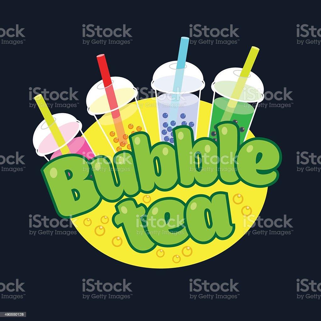 Bubble Tea concept logo vector art illustration
