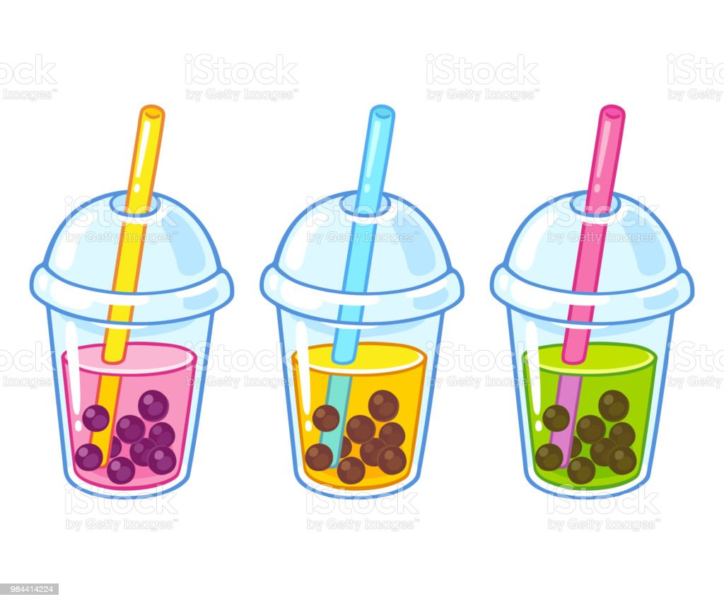 Bubble tea cups vector art illustration