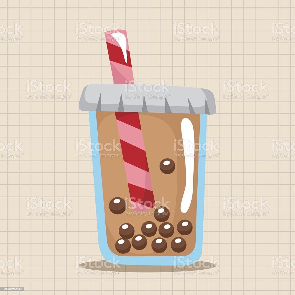 bubble tea drink theme elements vector art illustration
