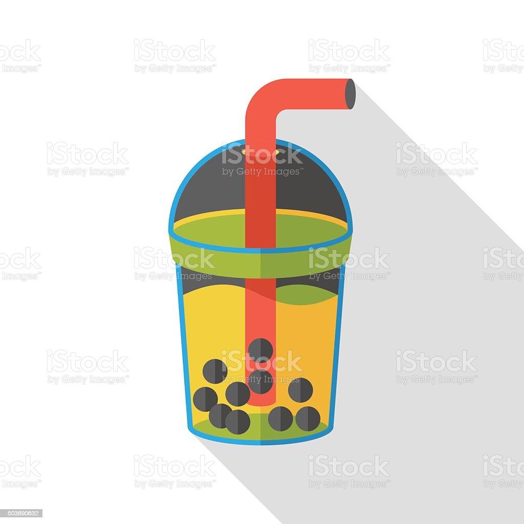 bubble tea flat icon vector art illustration