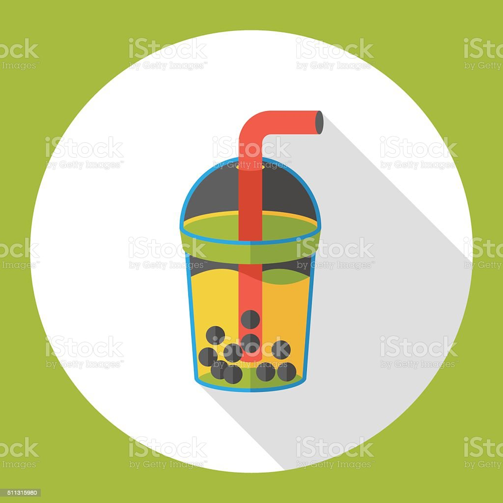 bubble tea flat icon vector art illustration