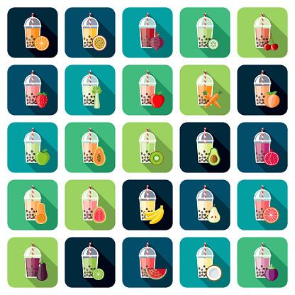 Bubble Tea Flavors Icon Set