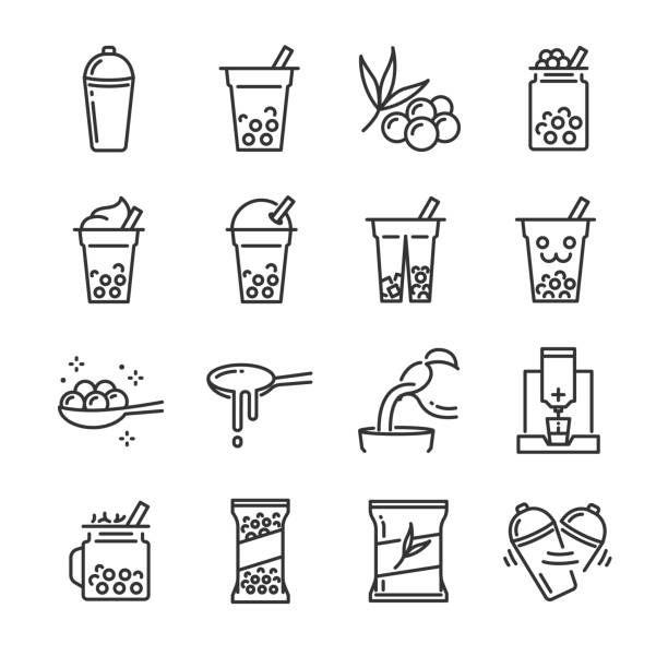 stockillustraties, clipart, cartoons en iconen met bubble thee pictogramserie. inbegrepen de pictogrammen als zeepbel, melkthee, schudden, drankje, gieten, boba sap en meer. - siroop