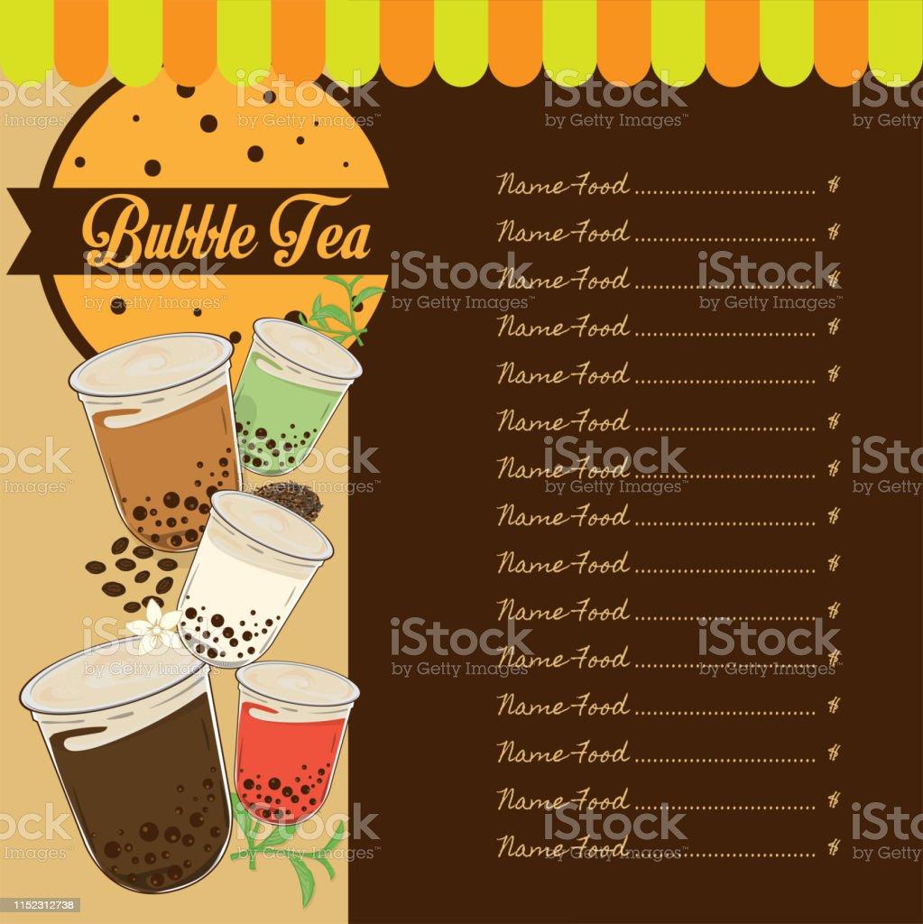 Bubble Tea Menu Graphic Template Stock Illustration ...