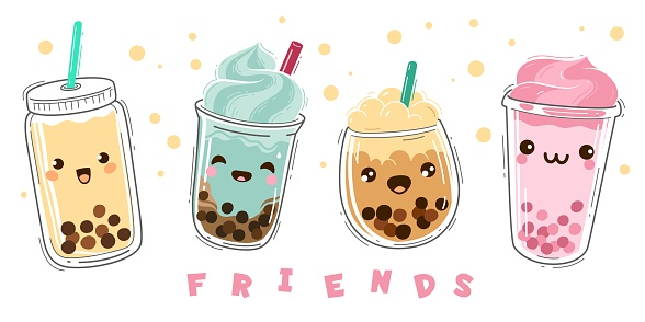 Bubble tea. Milk tea with tapioca, modern taiwanese pearl liquid dessert with balls, soft boba drinks plastic cup with emotions smile characters, green and fruit tea cartoon vector set