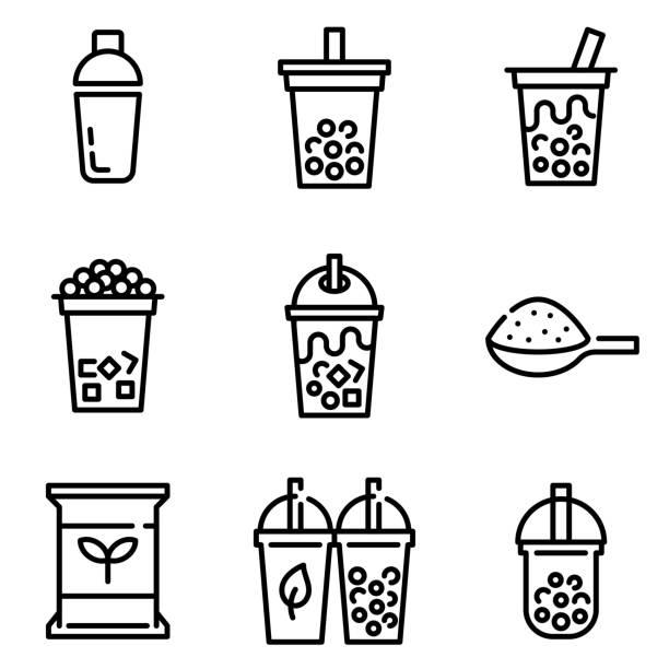 Bubble tea or Pearl milk tea line icon set, vector illustration – artystyczna grafika wektorowa