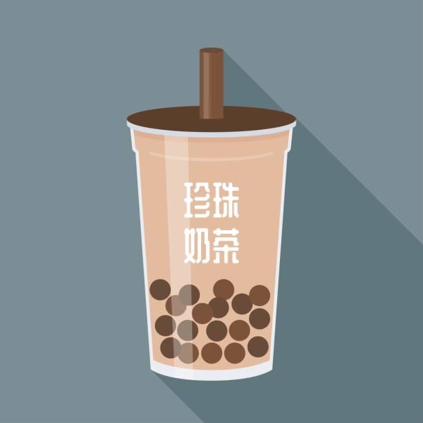 Bubble tea or Pearl milk tea vector illustration – artystyczna grafika wektorowa