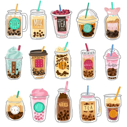 Bubble tea. Plastic cups with summer bubble asian tea, popular taiwanese pearl milk with balls, soft boba drinks with delicious tapioca cold liquid dessert cartoon vector isolated set