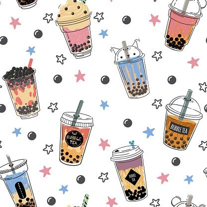 Bubble tea seamless pattern. Popular asian cold drink, pearl milk tea, trendy breakfast taiwanese boba tea with tapioca balls design vector texture