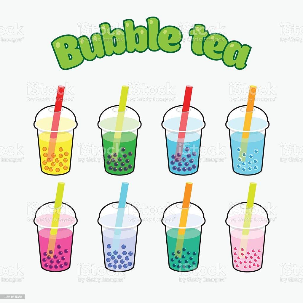 Bubble Tea set vector art illustration