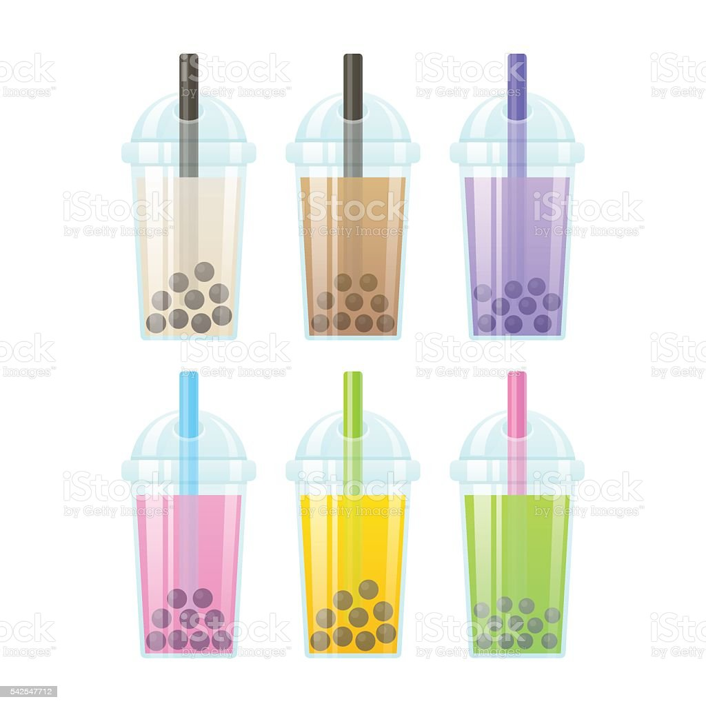 Bubble tea set vector art illustration