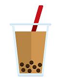 bubble tea (tapioca milk tea) vector illustration
