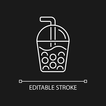 Bubble tea white linear icon for dark theme.