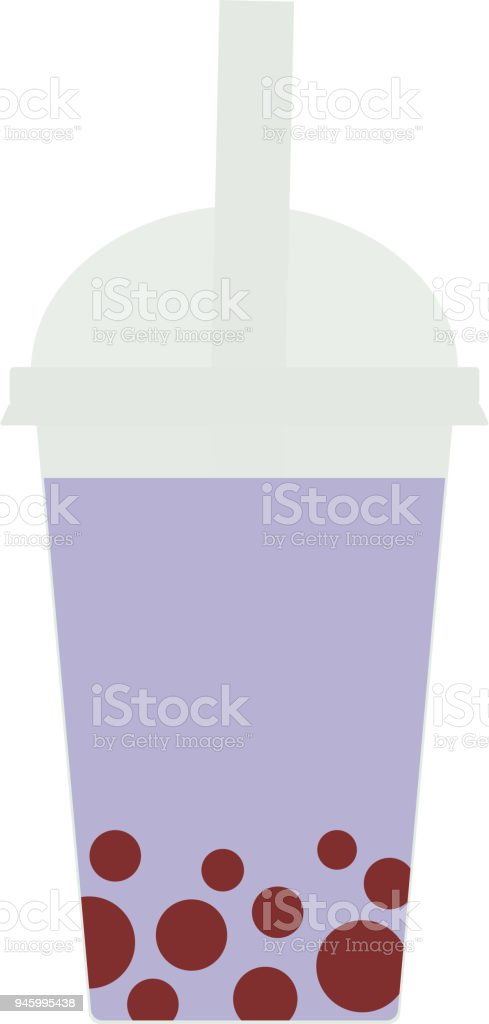 Bubble Tea with blueberry berries. Milk Cocktails in plastic cup, tubule, pastel colors on white background. Vector vector art illustration