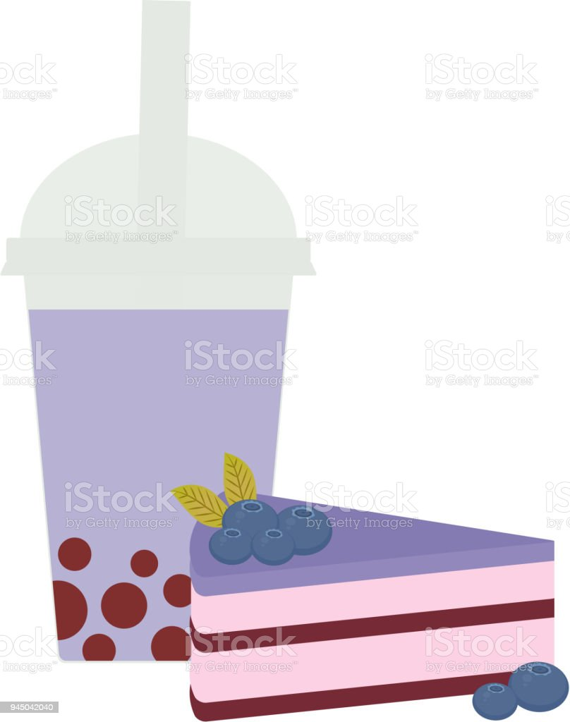Bubble Tea with blueberry berries. Milk Cocktails in plastic cup, tubule. Sweet cake decorated with fresh blueberry, pink chocolate cream and icing, pastel colors on white background. Vector vector art illustration
