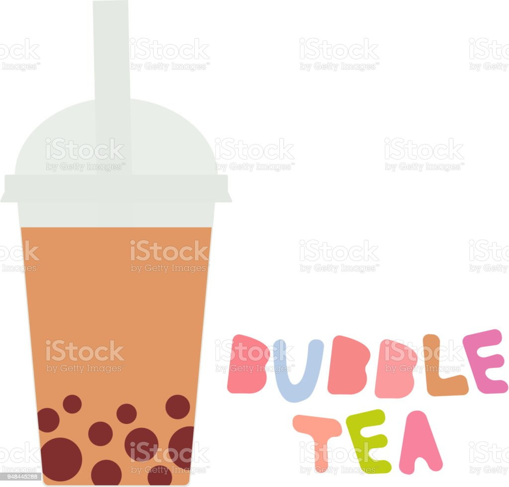 Bubble Tea with chocolate cocoa coffee. Milk Cocktails in plastic cup, tubule, pastel colors on white background. Vector vector art illustration