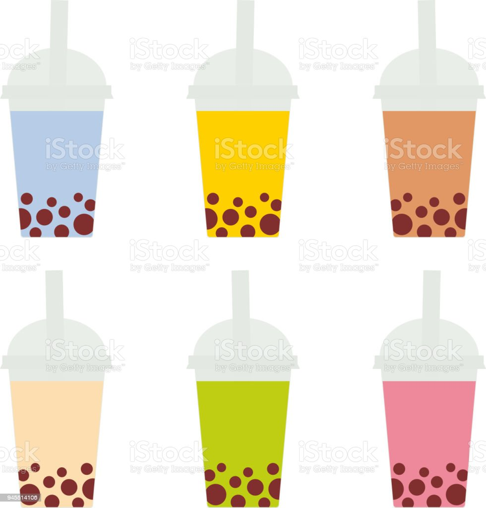 Bubble Tea with different fruits and berries. Milk Cocktails in plastic cup, tubule. Different sorts of Bubble Tea Cocktails. pastel colors on white background. Vector vector art illustration