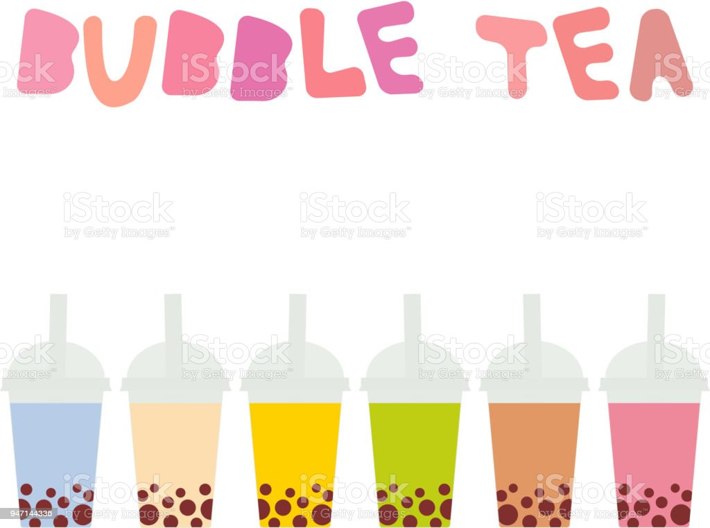 Bubble Tea with different fruits and berries. Milk Cocktails in plastic cup, tubule. Different sorts of Bubble Tea Cocktails. pastel colors isolated on white background. Vector vector art illustration