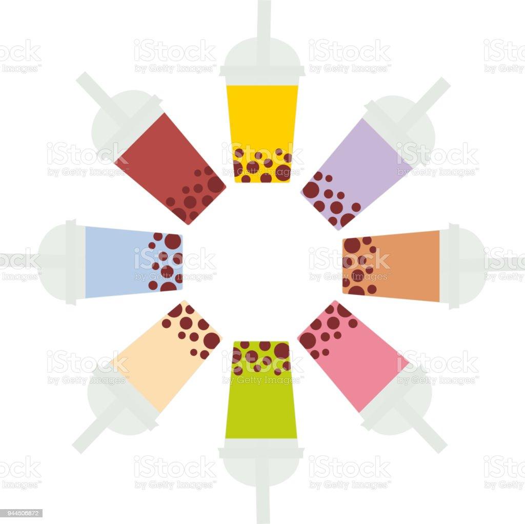 Ilustración de Té De La Burbuja Con Diferentes Frutas Y Bayas Ronda ...