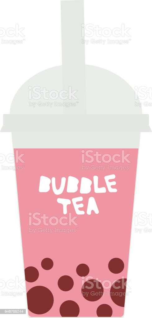 Bubble Tea with pink raspberry strawberry watermelon berries. Milk Cocktails in plastic cup, tubule, pastel colors on white background. Vector vector art illustration
