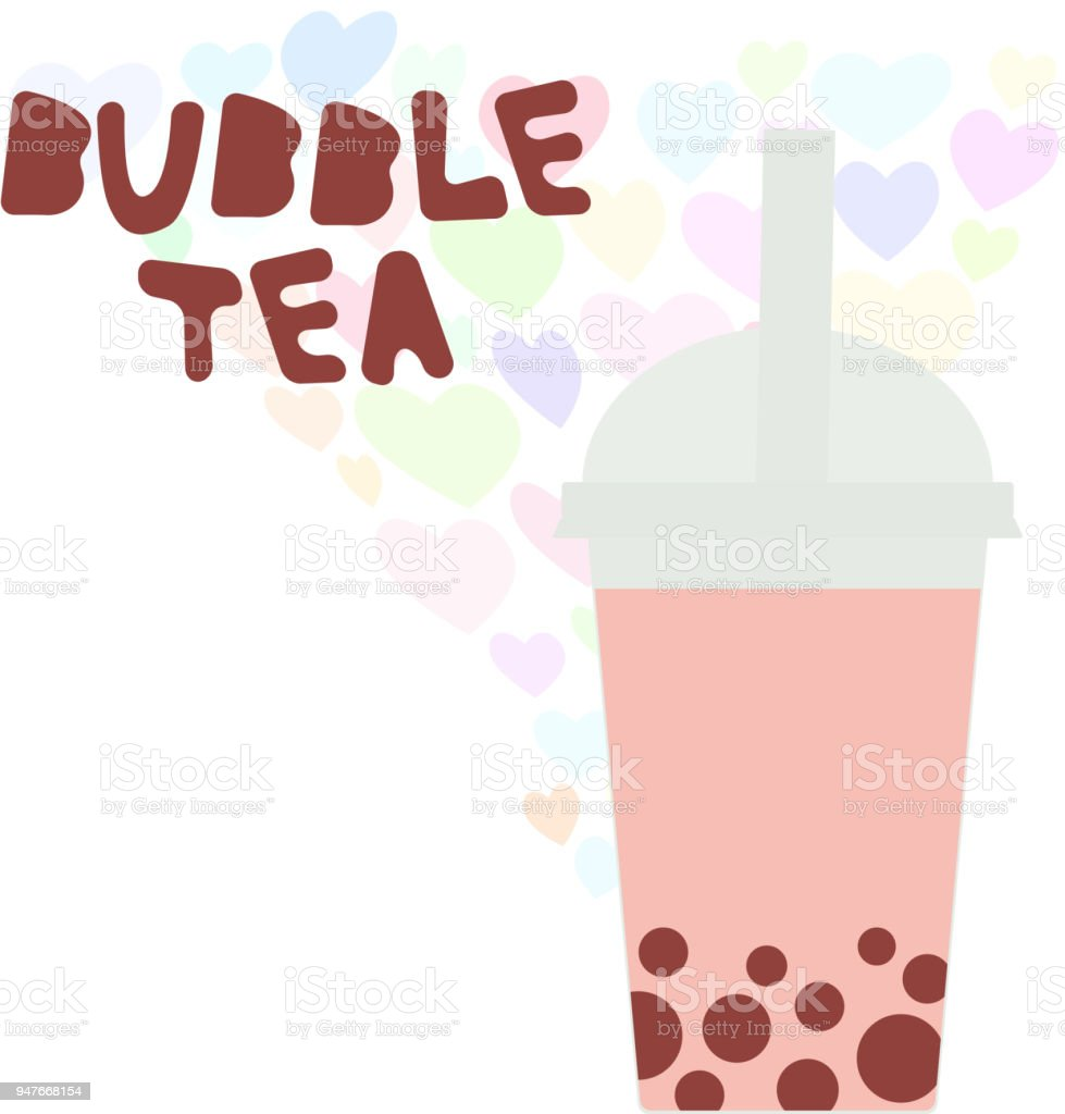 Bubble Tea with pink raspberry strawberry watermelon berries. Milk Cocktails in plastic cup, tubule, heart pastel colors on white background. Vector vector art illustration