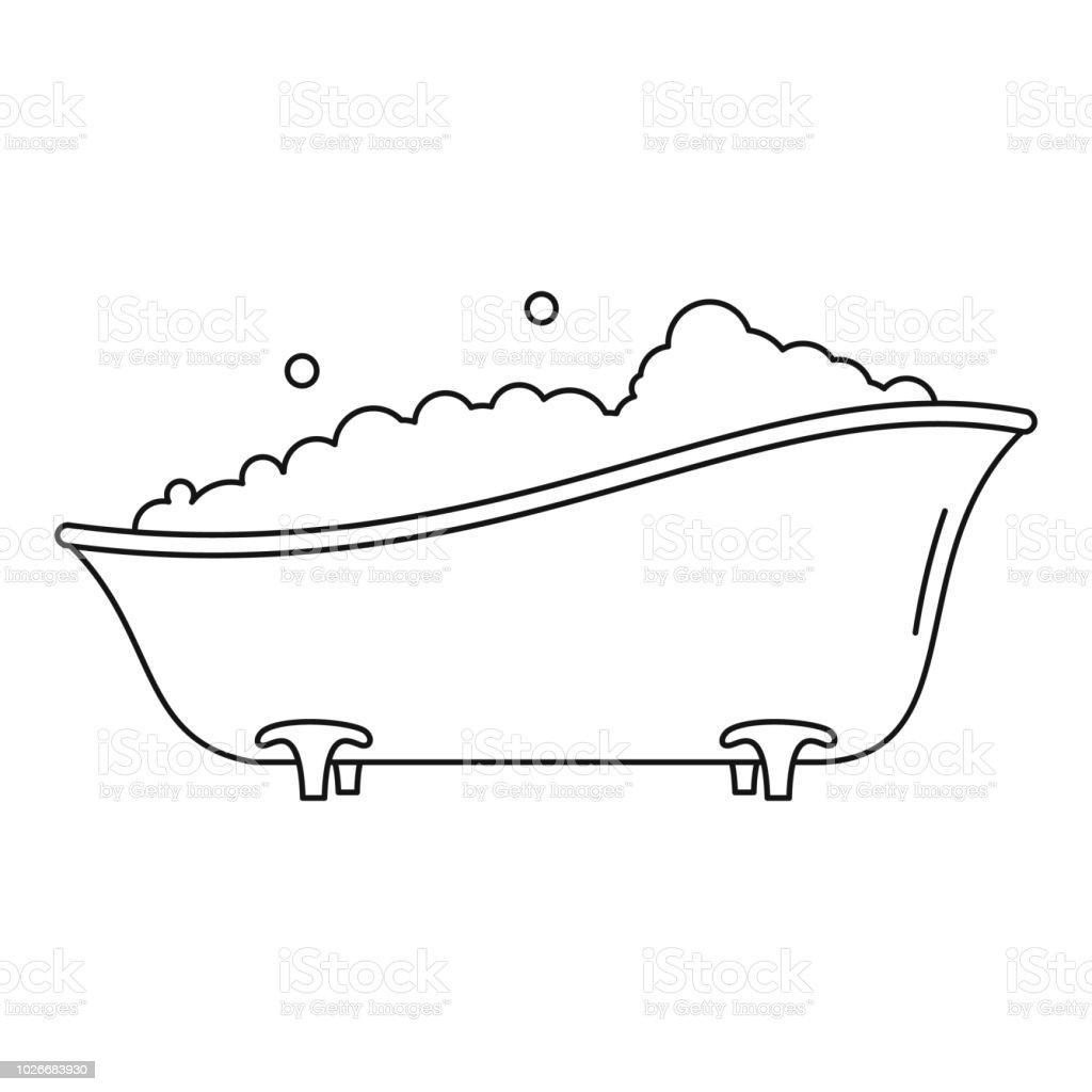 Bubblebath bathtube icon, outline style vector art illustration