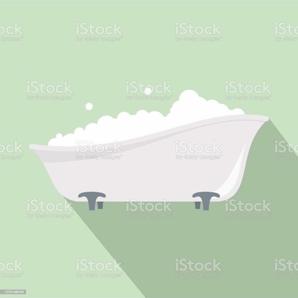 Bubblebath in bathtube icon, flat style vector art illustration