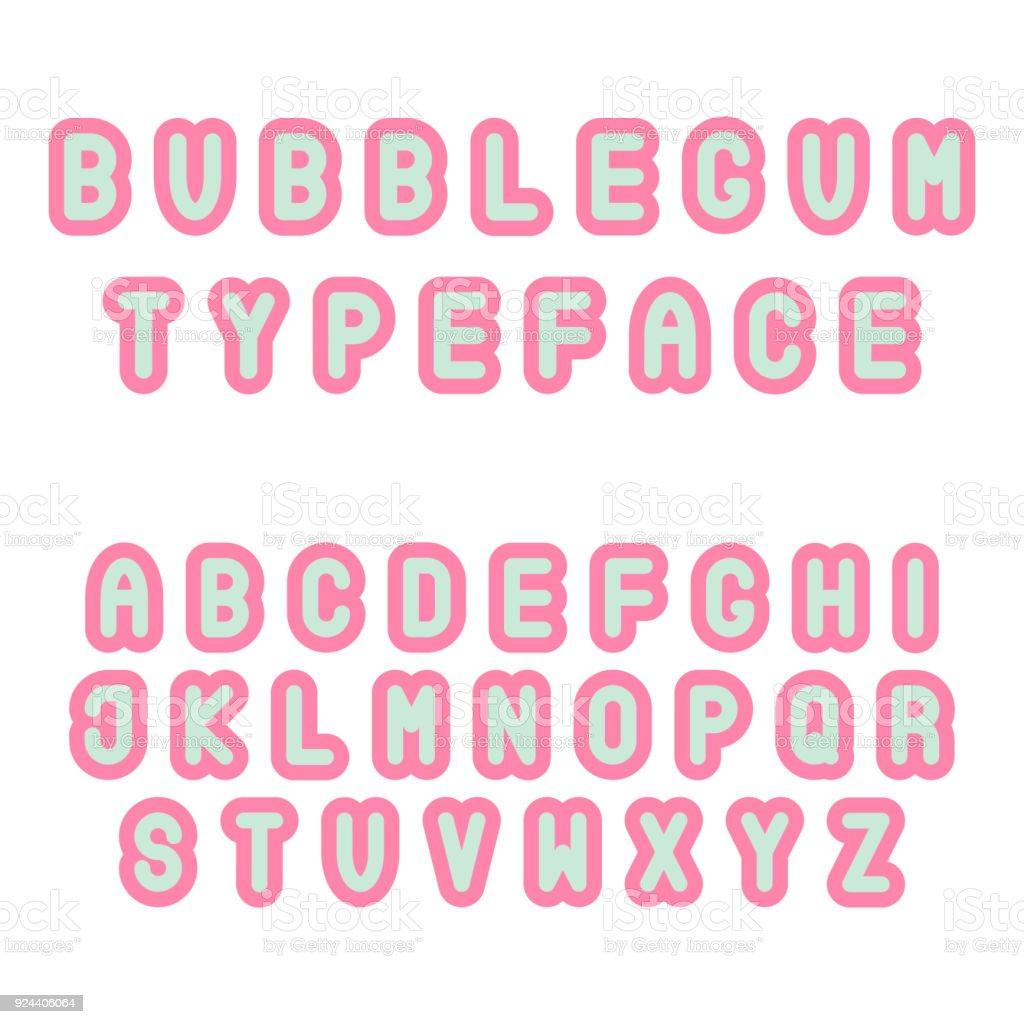 Bubblegum Schrift Coole Trendige Hipster Schriftart Rosa Und