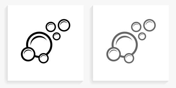 Bubbles Black and White Square Icon vector art illustration