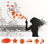 Illustration of a young girl making heart-shaped bubbles, within a abstract floral and grunge banner. Illustrator CS2 file also included. Separated layers.