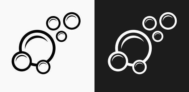 Bubbles Icon on Black and White Vector Backgrounds vector art illustration