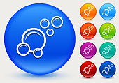 Bubbles Icon on Shiny Color Circle Buttons