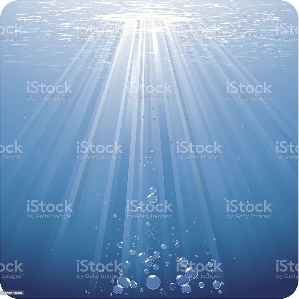 Bubbles in blue water dancing under sunrays vector art illustration