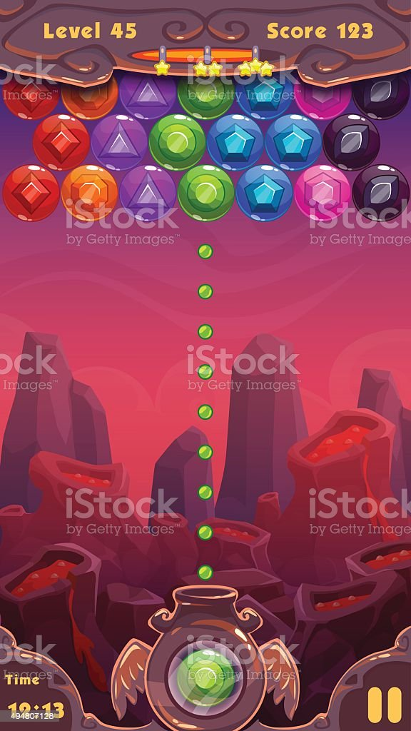 Bubbles shooter game screen vector art illustration