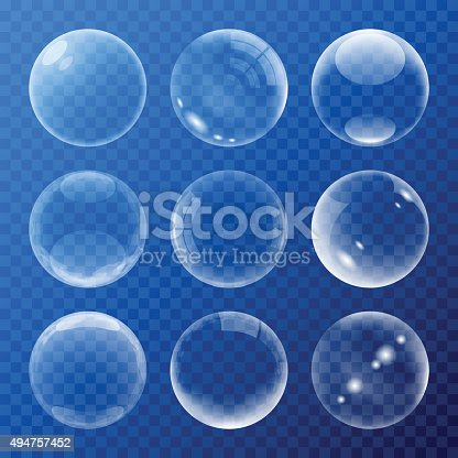 Bubbles signs set on a blue background