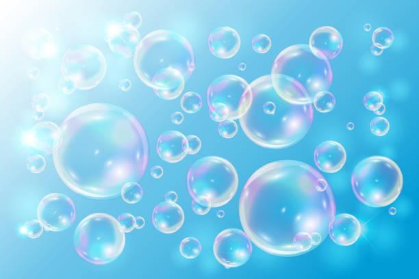 illustrations, cliparts, dessins animés et icônes de savon de bulles sur fond bleu. - mousse d'emballage