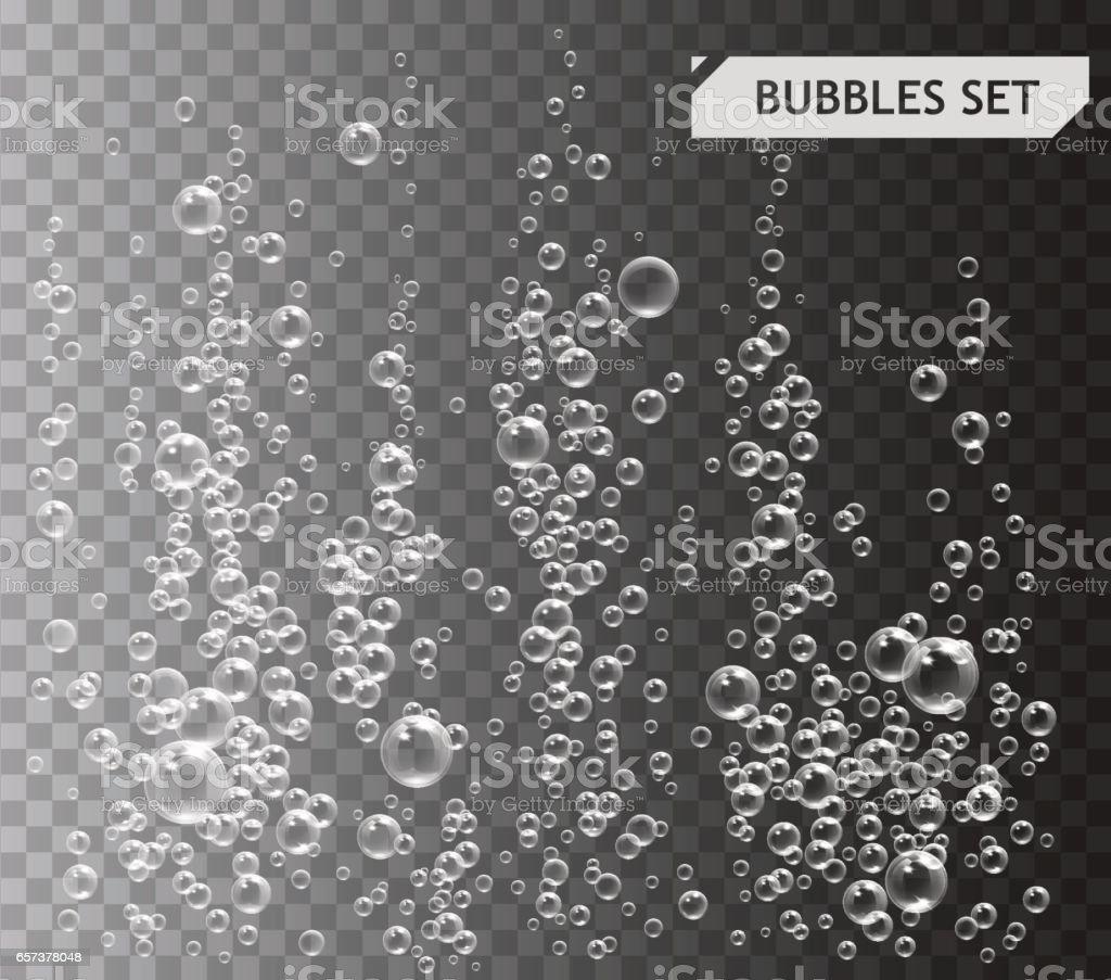 透明な背景の水ベクトル図の下のバブル ベクターアートイラスト