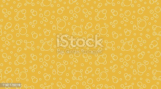 Bubbles vector seamless pattern with flat line icons. Yellow white color beer texture. Fizzy water background, abstract soda wallpaper.
