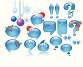 3D illustration of balloon conversation modified in christmas decoration.