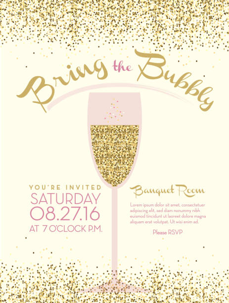 Bubbly champagne social event invitation design template Bubbly champagne social event invitation design template with pastel colors and glitter texture. Elegant champagne glasses. Easy to edit layers. Placement text included. brunch stock illustrations