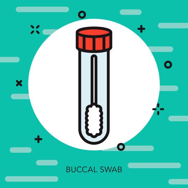 illustrazioni stock, clip art, cartoni animati e icone di tendenza di buccal swab thin line genetic testing icon - campione scientifico