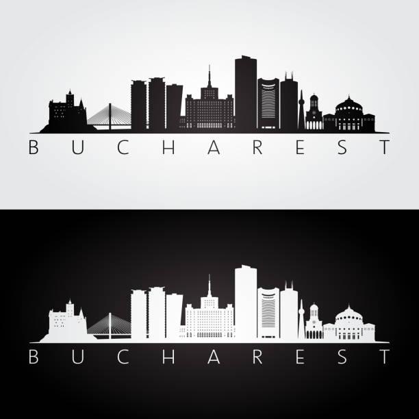 Bucharest skyline and landmarks silhouette, black and white design, vector illustration. Bucharest skyline and landmarks silhouette, black and white design, vector illustration. romania stock illustrations