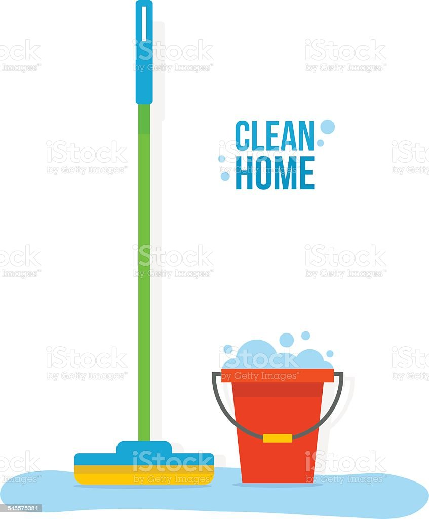 Bucket and mop vector art illustration