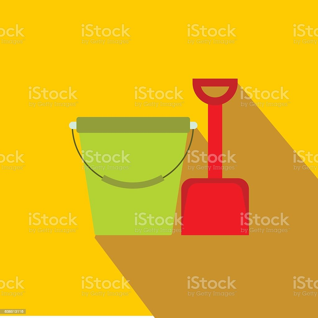 Bucket and shovel for childrens sandboxe icon vector art illustration