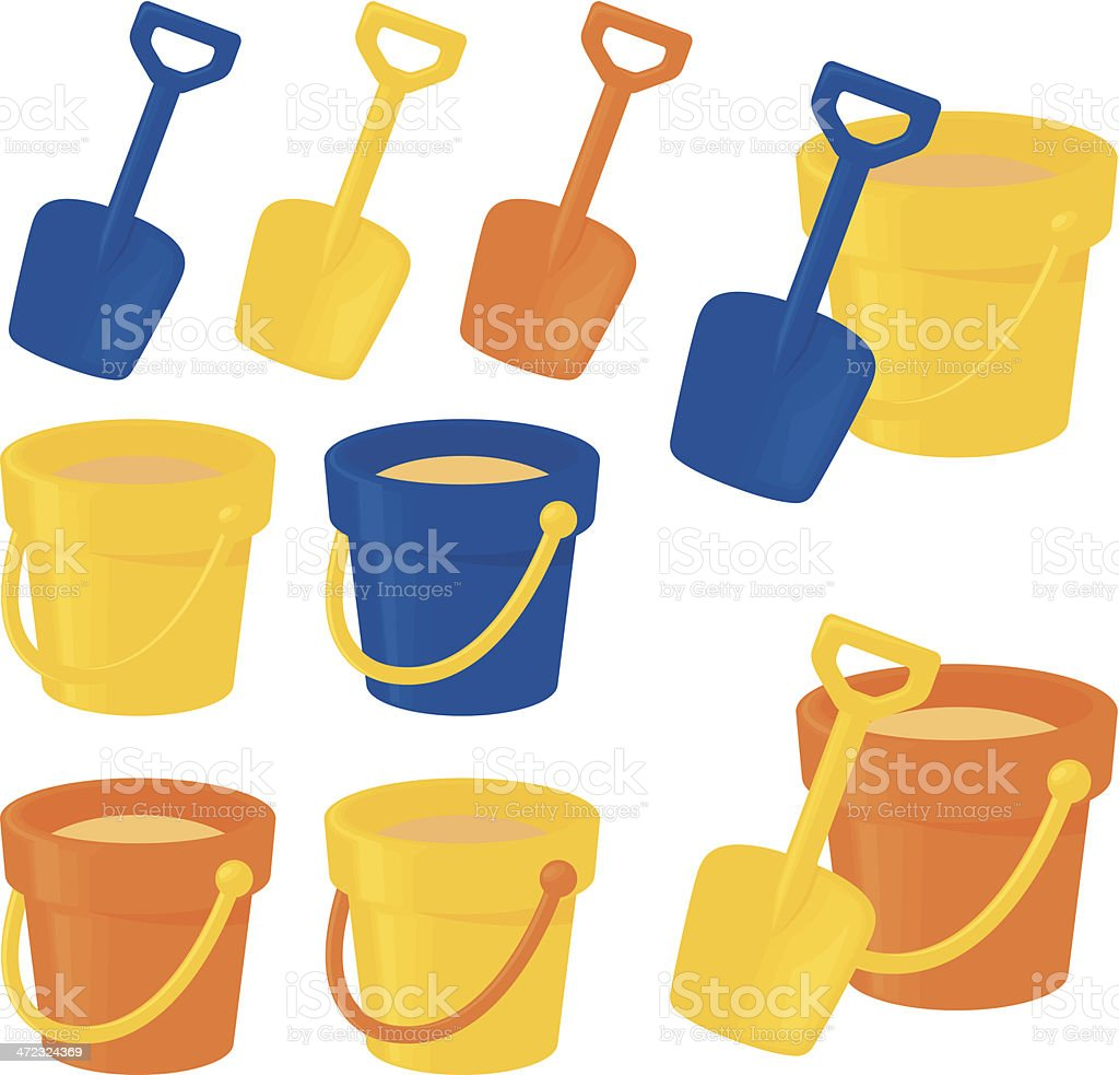 Bucket and Spade vector art illustration
